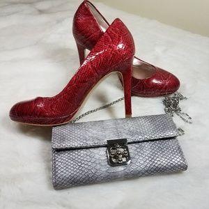 White House Black Market Red Snakeskin Diane Heel